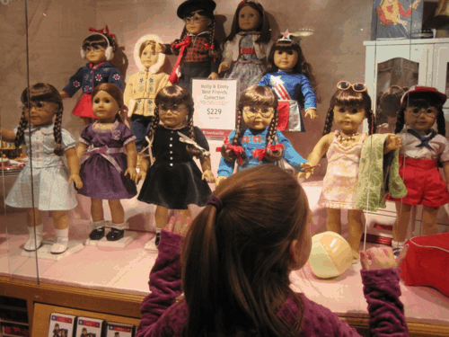 new york city-american girl place-doll displays