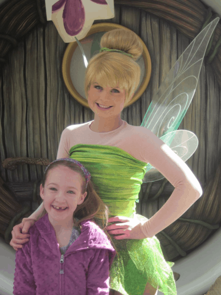 disneyland-girl with tinker bell