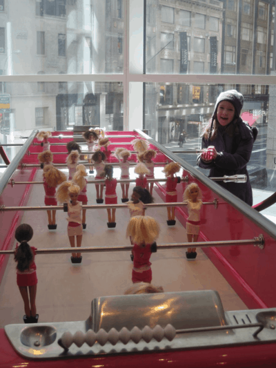 new york city-fao schwarz-barbie foosball