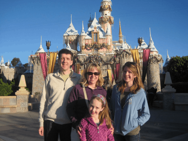 disneyland-family in front of castle