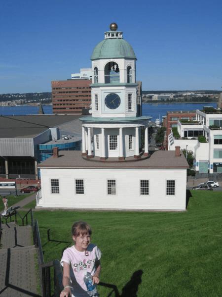 nova scotia-halifax-girl at clock tower
