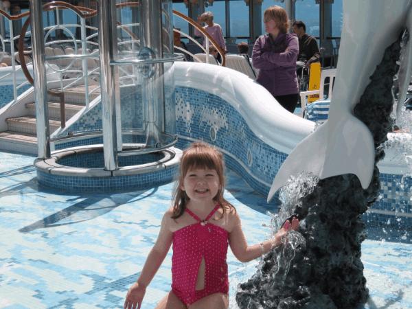 Emma playing in the pool on Alaskan cruise