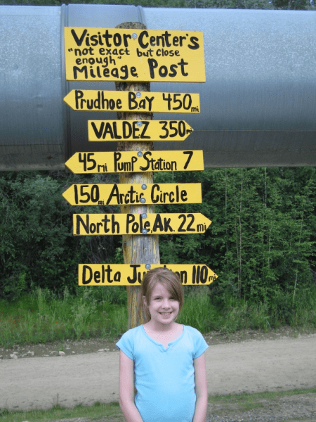 Mileage sign at Trans-Alaska Pipeline