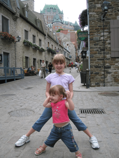 quebec city-girls playing in basse ville