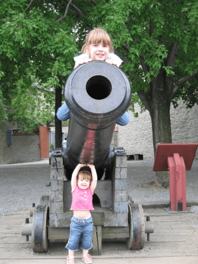 quebec city-lower town-kids playing at cannon