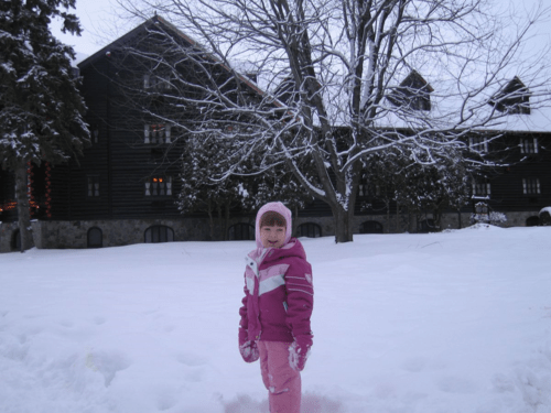 chateau montebello-playing in snow