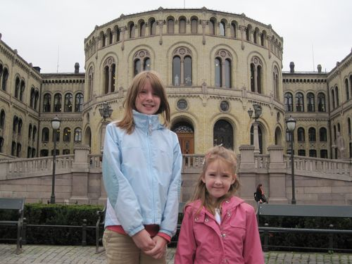 Girls outside Norwegian Parliament in Oslo