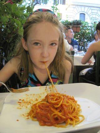 Eating spaghetti in Rome