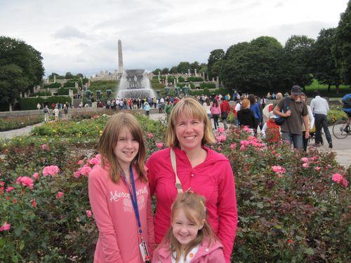 Family visiting Vigeland Park