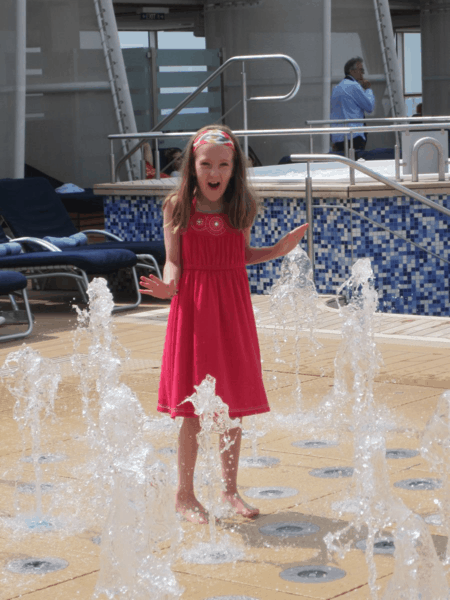 Playing in fountains on Celebrity Equinox