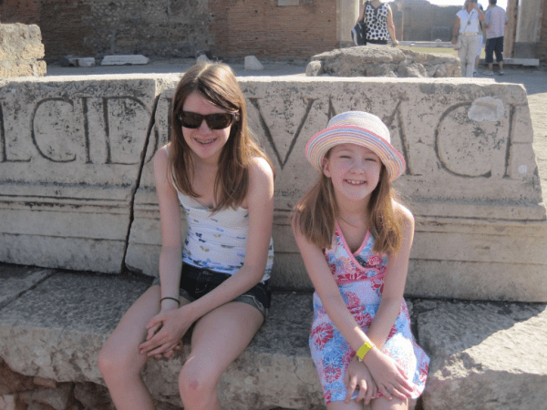 Italy-young girls at Pompeii