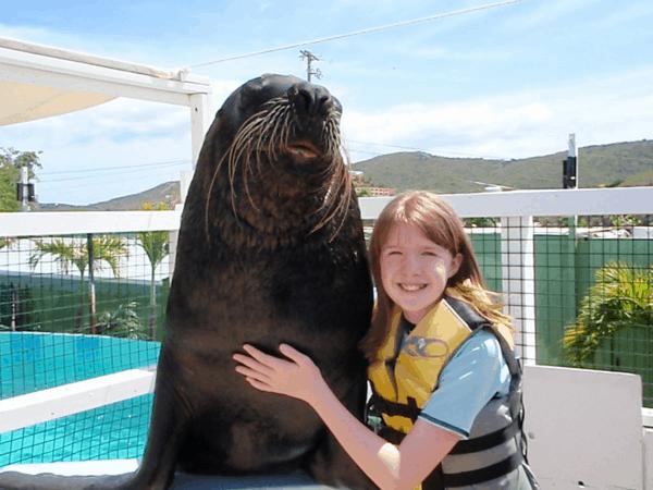 Posing with sea lion at Coral World, St. Thomas, USVI