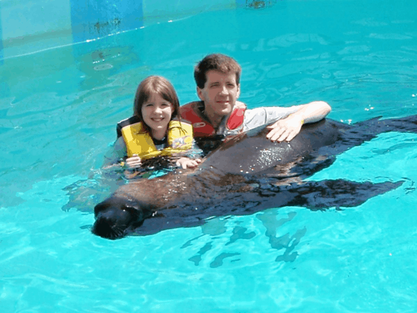 In pool with sea lion at Coral World, St. Thomas, USVI