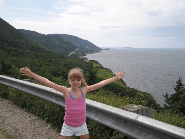 Nova Scotia-Cape Breton-girl on the Cabot Trail