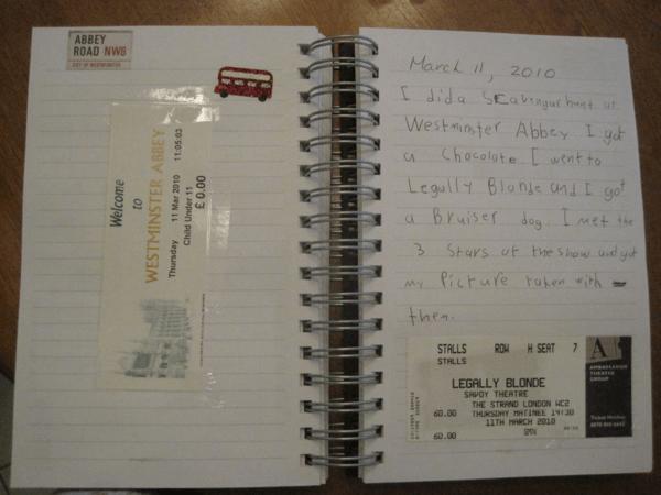 Kid's Travel journal - ticket stubs