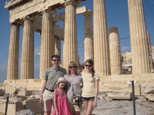 Greece-Athens-Family at the Parthenon