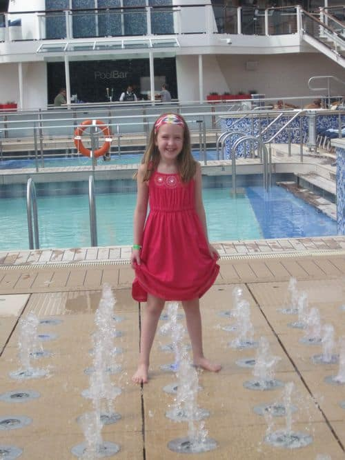 Playing in the fountains on Celebrity Equinox