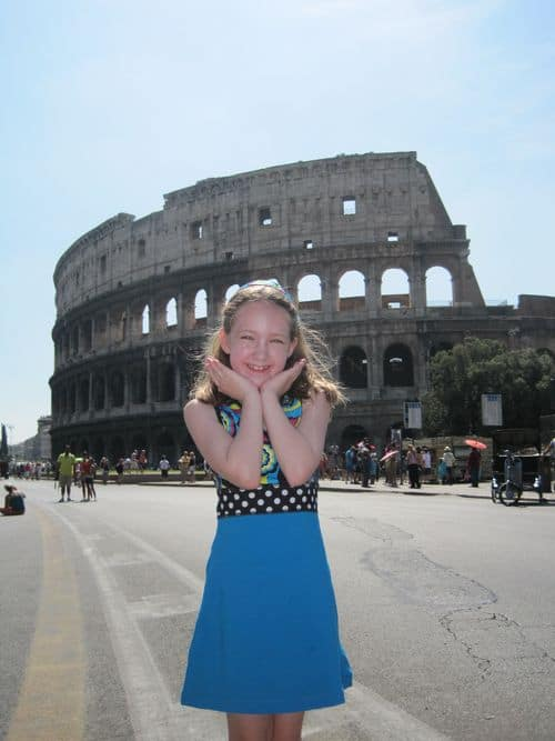 Emma at the Colosseum in Rome, Italy