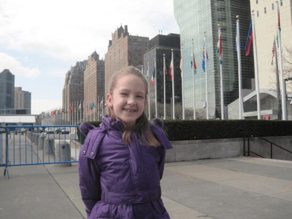 New York City-girl outside UN Headquarters