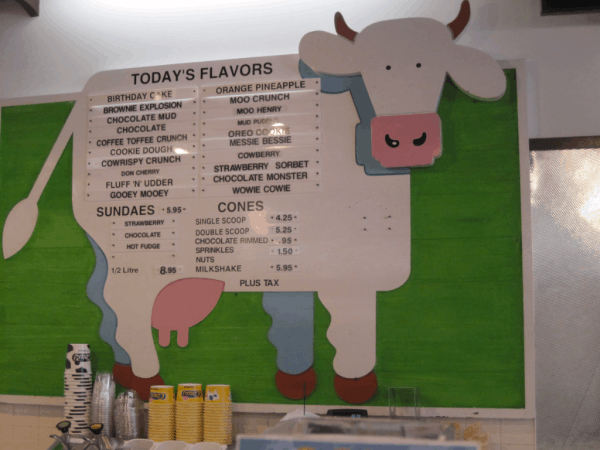 PEI-Menu at COWS Ice Cream