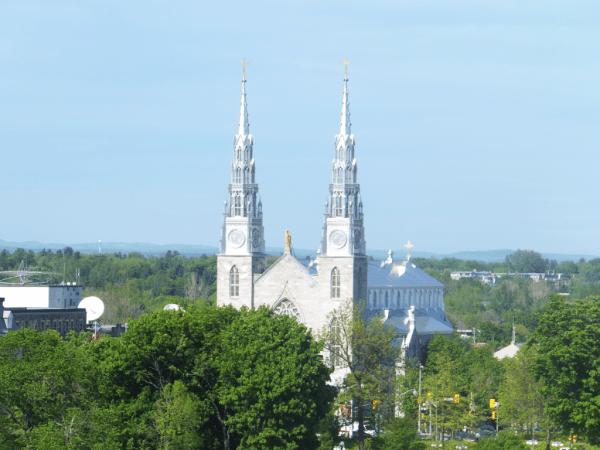 Ottawa-Notre Dame Basilica from Parliament Hill