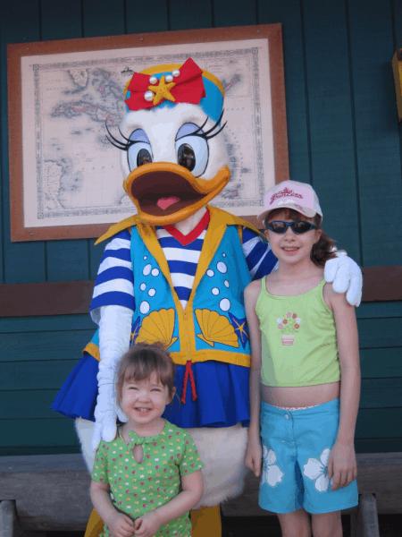 Disney cruise-With Daisy Duck at Castaway Cay