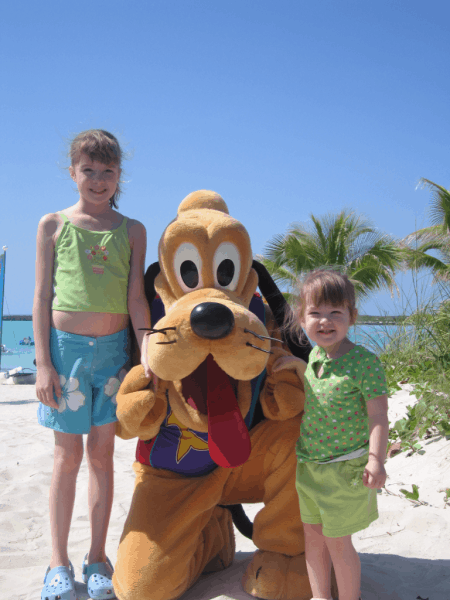 Disney cruise-with Pluto at Castaway Cay