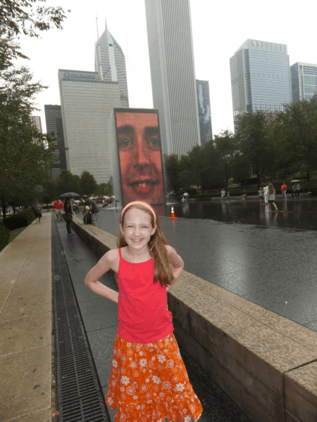 Chicago-Crown Fountain on a Rainy Day
