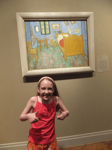 Art Institute of Chicago-girl with Van Gogh painting