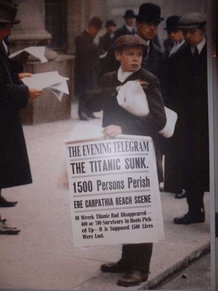 Titanic Exhibit - photo of newsboy-St. John's, Newfoundland