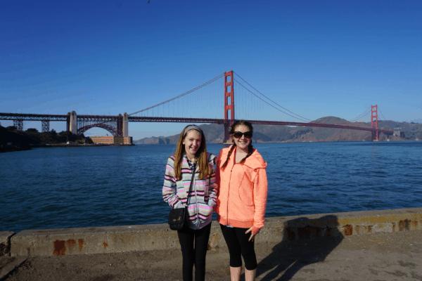 Girls at Golden Gate Bridge in San Francisco