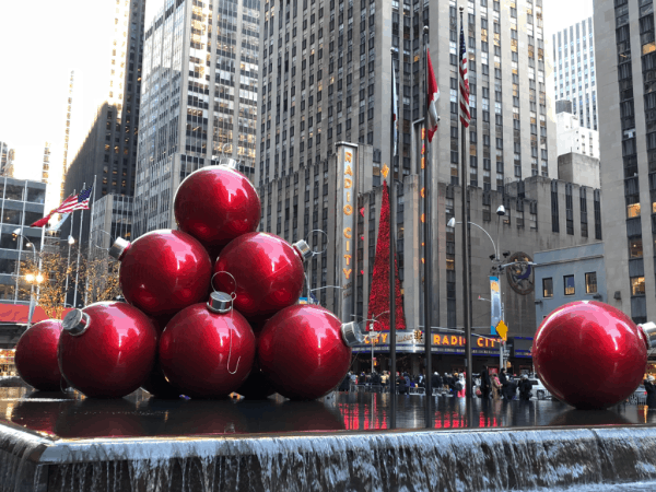 New york city at christmas-ornament decorations on sixth avenue