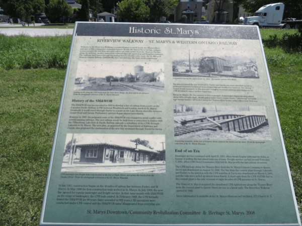 Railway history of St. Marys, Ontario - interpretive plaque on Riverview Walkway