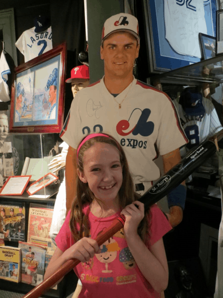 Checking out Larry Walker's bat at Canadian Baseball Hall of Fame
