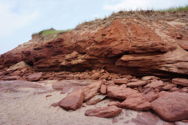 Prince edward island national park-cavendish beach-red cliffs and rocks