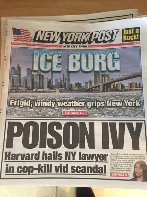 New york city-post headline record cold temperatures