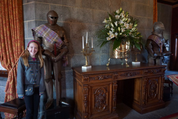 Ireland-dromoland castle-lobby-girl with suits of armour