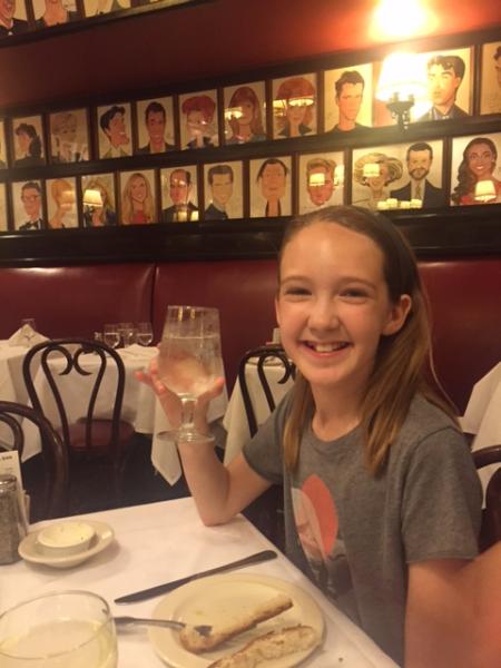 New york city-sardi's restaurant-young girl dining