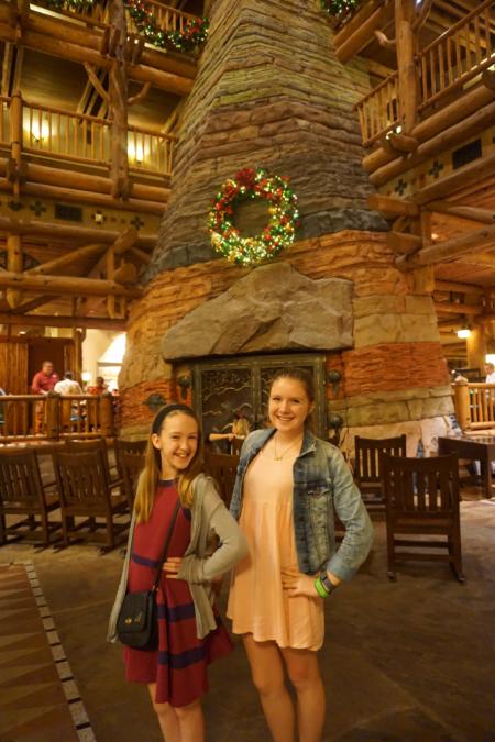 Disney world-wilderness lodge-lobby fireplace-christmas