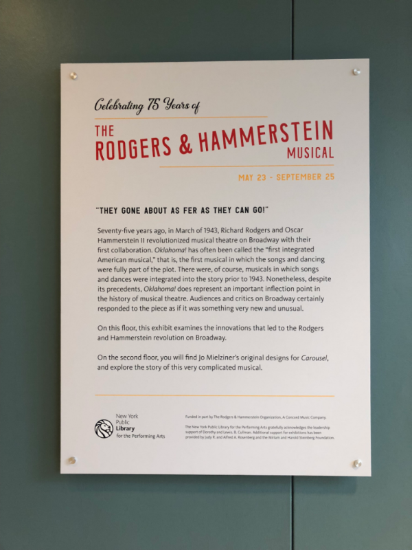 New york city-new york public library for the performing arts-rodgers and hammerstein exhibit