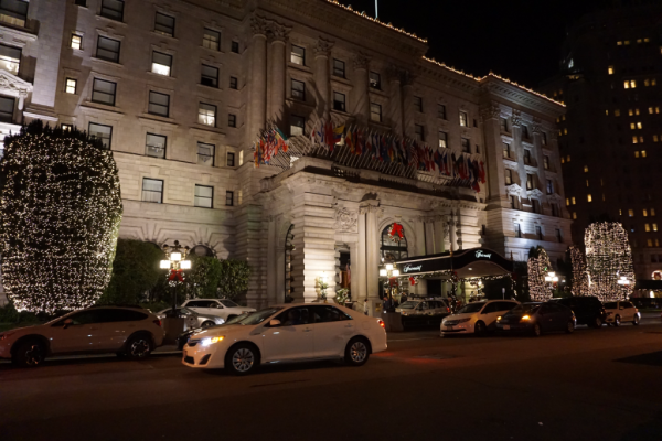 California-fairmont san francisco-front entrance-at night