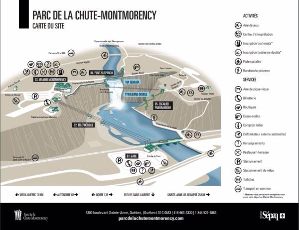 Quebec-montmorency falls map