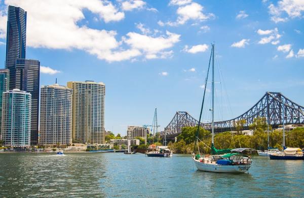 australia-city of brisbane-harbour with boat and city skyline