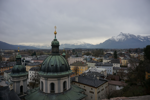 Austria-view of salzburg and mountains from nonnberg abbey