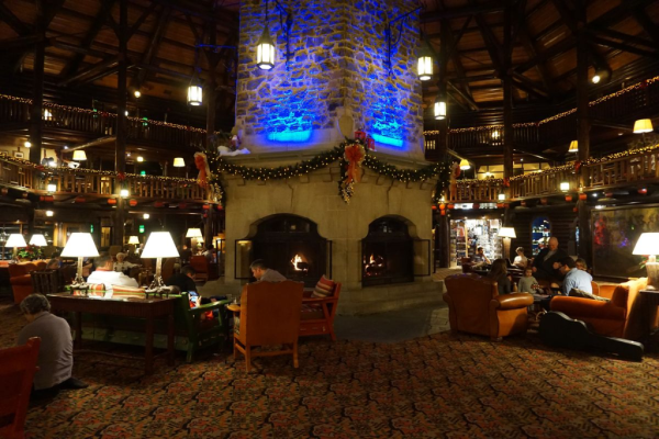 Chateau montebello-lobby fireplace
