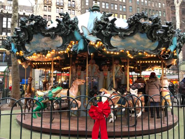 New york city at christmas-bryant park carousel