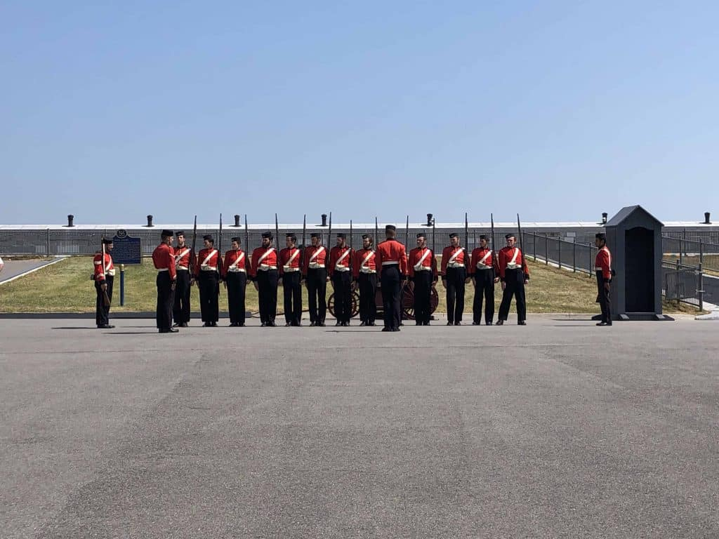 fort henry guards lined up near entrance to fort