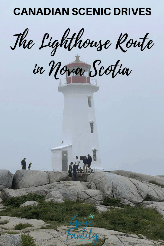 red and white lighthouse on rocky shore with overlay saying Canadian Scenic Drives The Lighthouse route in Nova Scotia