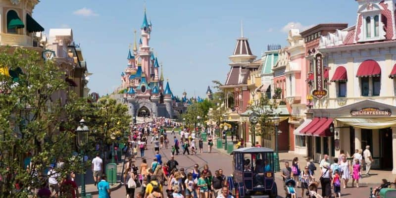 main street usa and sleeping beauty castle disneyland paris