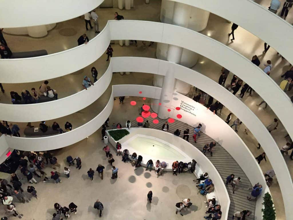 looking down to main floor of guggenheim in new york